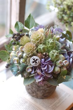 Flower Arrangement in pastel purples or lavender and greens