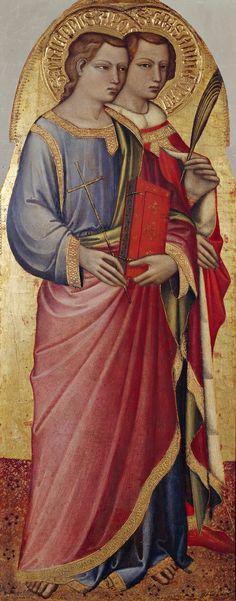 [Renaissance] Spinello Aretino - I Santi Filippo Apostolo e Grisante -  XIV-XV d.C.  - tempera e oro su tavola - Galleria Nazionale, Parma