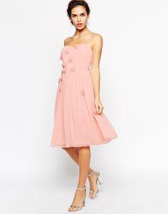Elise Ryan Midi Bandeau Dress with 3D Daisy Flowers