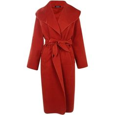 Boohoo Kate Belted Shawl Collar Coat | Boohoo ($35) ❤ liked on Polyvore featuring outerwear, coats, red coat, belted coat and shawl collar coats