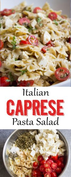 Pasta Salad This Italian Caprese Pasta Salad is the perfect side dish! Caprese Pasta SaladThis Italian Caprese Pasta Salad is the perfect side dish! Salade Caprese, Caprese Pasta Salad, Pasta Salad Italian, Pasta Salad Recipes, Brocoli Pasta Salad, Ensalada Pasta, Caprese Appetizer, Caprese Salad Recipe, Vegetarian Recipes