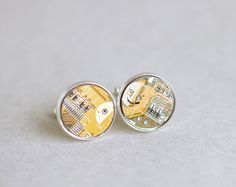 Geeky Cuff links  Yellow Circuit board  Techie by ReComputing, $29.00
