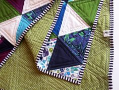 Handmade 'Plum&Moss Town' Triangle Quilt - Purple Green Blue White Patchwork Blanket - Unisex Toddler Bedding - Baby Cot Quilt - READY TO SHIP. €115 @ www.thecraftyprawn.etsy.com
