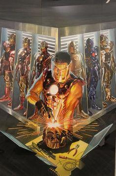 Tony Stark e suas Armaduras por Alex Ross.