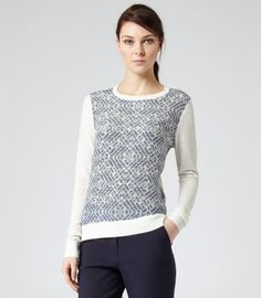 Rover Print PRINTED SILK FRONT JUMPER CREAM/NAVY • Reiss • £110.00