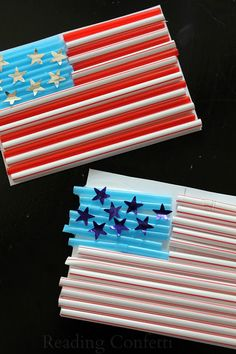 Celebrate the 4th of July with kids by making an American flag craft from colored drinking straws