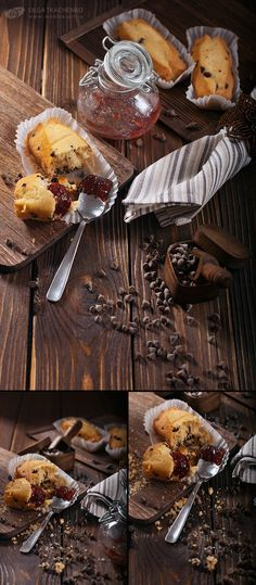 Cupcakes with chocolate drops. Triptych.