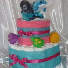 Pour l'arrivée de bébé.... petits animaux pour le bain - diaper cake