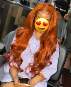 Summer Orange Color Remy Human Hair Wigs Wave Lace Wigs Pre Plucked Hairline - H. Butter Blonde, Cheveux Oranges, Wig Styling, Baddie Hairstyles, Hairstyles Videos, Black Hairstyles, Colored Weave Hairstyles, Wedding Hairstyles, Simple Hairstyles