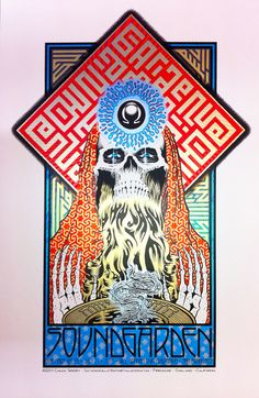 Chuck Sperry - Soundgarden, The Mars Volta, Bill Graham Civic Auditorium, San Francisco, July 2011 (Artist Edition) Tour Posters, Band Posters, Event Posters, Art Hippie, Rock Bands, Grunge, Psychedelic Rock, Psychedelic Posters, Pochette Album