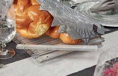 Striped Challah Board - silver