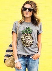 Women's Short Sleeve Pineapple Printed Pullover Tee