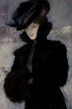 """The Fur Coat""  by Bessie MacNicol (Scottish painter)"