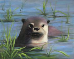 """Laila Meadows; Oil 2013 Painting """"Otter"""""""