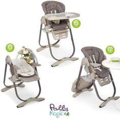 Chaise Haute 3 en 1 Polly Magic, à partir de la naissance et jusqu'à 3 ans. De 0 à 6 mois : Transat avec barre de jeux. De 6 à 12 mois : Chaise haute. De 1 à 3 ans : Chaise enfant. Hauteur, dossier et repose-pieds réglables. Double plateau inclus.