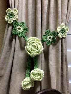 Crochet Curtain Tieback - 1 set, mid green w/pistachio green rose by JinesCrafts on Etsy