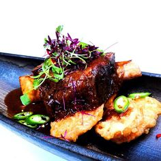 In case you're wondering what this delicious looking dish is - it's the #LRF2015 special, Beef Short Ribs!   Braised in spicy Szechuan broth, the meat is juicy & tender, served on the bed of sweet potato tempura!   But it's only available till Halloween dinner time! (>_<)  Book now via this link & try tonight (or tomorrow)!!! (^_−)☆ http://bda.bookatable.com/?cid=UK-RES-COCOCHAN_169699:46294&pid=82786&lang=en-GB