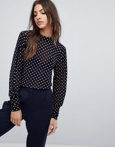 Y.A.S Polka Dot Mesh Top With High Neck