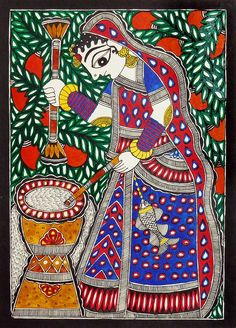 Village Woman - Folk Art Paintings (Madhubani Folk Art on Paper - Unframed) Art Painting, Indian Art Paintings, Tribal Art, Madhubani Art, Fabric Painting, Painting, Traditional Paintings, Madhubani Painting, Folk Art Painting