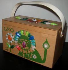 a23b3f2b4a74 Enid Collins zodiac Leo wood box bag purse in green print with multi color  gem trimmings.