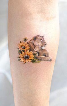 Lion Cub Tattoo, Lion And Lioness Tattoo, Cubs Tattoo, Tiger Tattoo, Rose Tattoos For Women, Tattoos For Kids, Tattoos For Daughters, Mommy Tattoos, Baby Tattoos