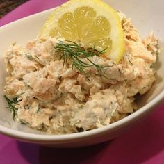 Lemon Dill Salad: This is also a great option for brunch! I make the dressing by combining equal parts light mayo and nonfat sour cream, then add some lemon juice, chopped fresh dill and black pepper. Stir in flaked, cooked salmon fillets (canned salmon is great too -- drain it well first). It is always a hit!