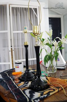 Two thrift store lamps get a glamorous makeover for my master bedroom! I found these lamps on two different weekends in two different stores and just knew I cou… Spray Paint Lamps, Chrome Spray Paint, Black Spray Paint, Lamp Makeover, Painted Rug, Gloss Paint, Brass Lamp, Little Girl Rooms, Vintage Lamps