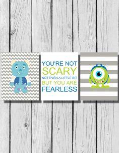 "Children's Room Artwork / Monster's Inc / Boys Room Decor / Fearless / Set of 3 8""x10"" prints by LittleMissAvery1 on Etsy"