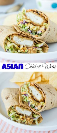 Asian Chicken Wraps - an easy chicken wrap with a Thai peanut sauce. A great lunch idea or a quick and easy dinner! Lunch Snacks, Clean Eating Snacks, Healthy Eating, Eating Habits, Healthy Cooking, Asian Chicken Wraps, Healthy Chicken Wraps, Crispy Chicken Wraps, Avocado Chicken