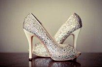 Argent chaussures de mariage chaussures de mariée scintillante ♥ Glitter