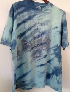 Led Zeppelin Shirt, Band Shirts, Tie Dye Shirt, Swan Song 80s Concert XL by ResouledGypsy on Etsy