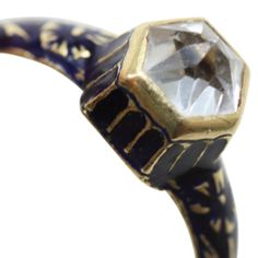 Neo Renaissance Rock Crystal Enamel Gold Ring | From a unique collection of vintage engagement rings at http://www.1stdibs.com/jewelry/rings/engagement-rings/