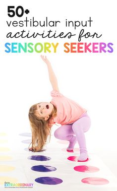Over 50 vestibular input activities to try with your sensory seeker - stimulating the vestibular system can help kids stay calm and focusfor hours - Gross Motor Activities, Gross Motor Skills, Sensory Activities, Physical Activities, Educational Activities, Activities For Kids, Sensory Swing, Sensory Play, Vestibular System