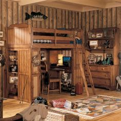 Interior, Vintage Bunk Bed Style Filled On Rustic Basement Paired With Ancient Desk And Old Storage: Spreading Opulence to the Basement with Rustic Basement Ideas