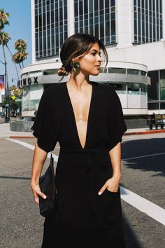 An all-black outfit will never be boring — just ask Kate Moss and Meghan Markle. Whatever the season, this fail-safe shade will always help you look and Style Outfits, Mode Outfits, Fashion Outfits, Fashion Clothes, Looks Style, Style Me, Black Style, Low Cut Dresses, Low Cut Black Dress