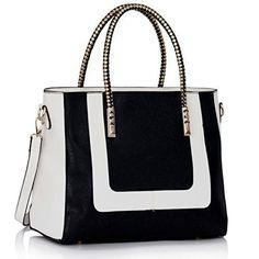 Ladies Fashion Designer Handbags Womens Shoulder Bags Tote Shoulder Celebrity (Black/White Fashion Bag) | imhe