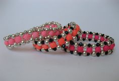 Bracelet Candy Pink Fluro Coated Glass Beads Bright And Dull Silver Finish Metal Beads, Beaded, Stretch, Christmas Gift For Her Under 50EU by MillineryJewellery on Etsy