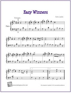 Easy Winners | Free Sheet Music for Easy Piano - http://makingmusicfun.net/htm/f_printit_free_printable_sheet_music/easy-winners-piano.htm