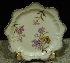 R&C ROSENTHAL German White Porcelain Plate Dish ~ Raised Relief Pink Thistle #RCRosenthal