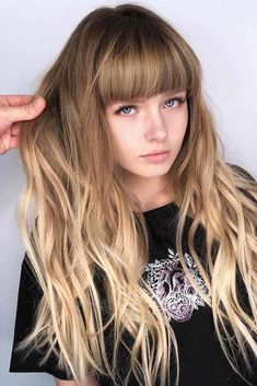 Wavy Long Hair With Blunt Bangs ❤ Want to find some face-framing haircuts with bangs and layers? Best short bob ideas for round face, medium lob styles for chubby faces, cuts for thick hair and thin locks are here! Medium Long Hair, Long Brown Hair, Long Wavy Hair, Thick Hair, Long Hair Fringe, Thick Bangs, Face Shape Hairstyles, Short Bob Hairstyles, Hairstyles Haircuts