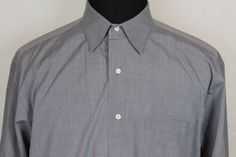 BROOKS BROTHERS Mens Long Sleeve Button Front Shirt Sz 17 Gray #BrooksBrothers