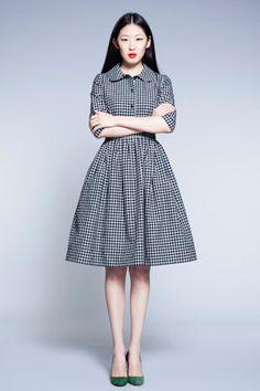 checkered woolen dress