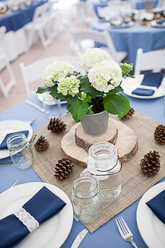 Top 5 Early Spring Navy Blue Wedding Color Palettes---Navy & White wedding reception with burlap and pineconrs, rustic wedding ideas. Round Wood Table, Wood Table Rustic, Circular Table, Round Tables, Rustic Barn, Pine Cone Decorations, Wedding Flower Decorations, Table Decorations, Wedding Flowers