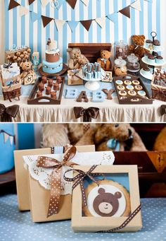 Adorable Teddy Bear Baby Shower. Boy baby shower. Could be easily made girl baby shower with pink and brown color scheme. Gender neutral baby shower with brown and green.