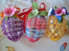 3 Pieces  Easter Eggs with Chrochet Lace by linenlaceandthread