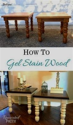 EASY Gel Stain Over Stain Technique (Also How to Gel Stain Over Paint!) Gel stain allows you to make any painted surface (wood, laminate, metal) look like dark stained wood as long as you know the right process. I love to restore furniture and give it a n Gel Stain Furniture, Furniture Projects, Furniture Making, Furniture Makeover, Furniture Websites, Furniture Outlet, Cheap Furniture, Furniture Market, Furniture Movers