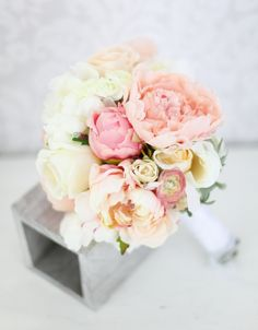 Silk+Bride+Bouquet+Peony+Flowers+Pink+Peach+Cream+by+braggingbags,+$89.00