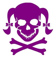 girly skull 3 vinyl decal