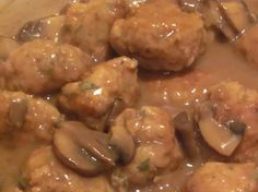 Quick Easy Meatball Recipe  1 bag of meatballs (frozen section @ Walmart)  1 pkg of brown gravy mix (dry)  1 can golden mushroom soup  1 can french onion soup   1 soup can of water  1 can mushrooms  Cook meatballs in oven for 30 min@ 400 degrees.  Mix other ingredients in saucepan.  Place meatballs in gravy.  Great with mashed potatoes!