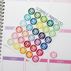 30 Gift Present Die-Cut Stickers // (Perfect for Erin Condren Life Planners)